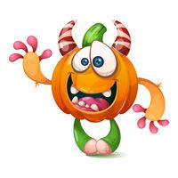 Cartoon, funny, crazy pumpkin characters. Halloween illustration.