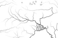 World Map of The GANGES RIVER Valley & Delta: India, Nepal, Bengal, Bangladesh. Geographic chart.