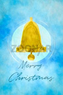 simple golden bell watercolor digital painting