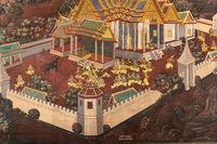 Courtyard figures in Wat Phra Kaew murals