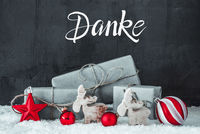 Snow, Gift, Red Decoration, Danke Means Thank You