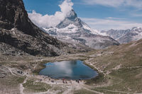 Panorama of Riffelsee lake and Matterhorn mountain in national park Zermatt