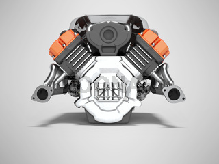 Car engine red isolated rear view 3d render on gray background with shadow