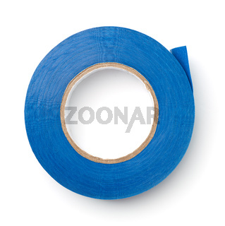 Top view of blue plastic duct tape