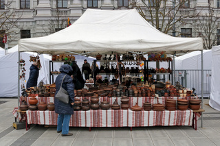 Traditional Ukrainian homemade clay kitchen plates and pots  from the Volyn region are sold during the spring Kaziukas fair