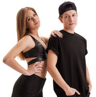 Rapper with his sexy girlfriend posing in studio