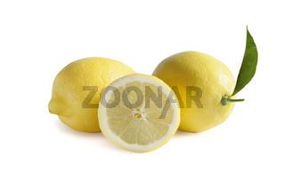 Ripe lemons isolated on white background