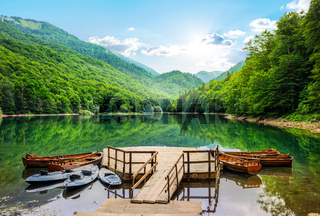 Boats on Biogradska Lake