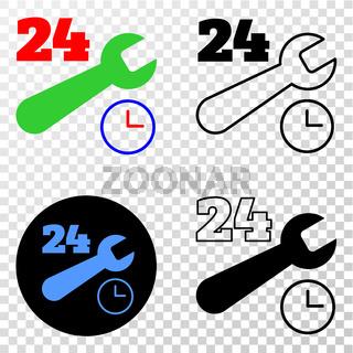 24-7 Repair Service Vector EPS Icon with Contour Version