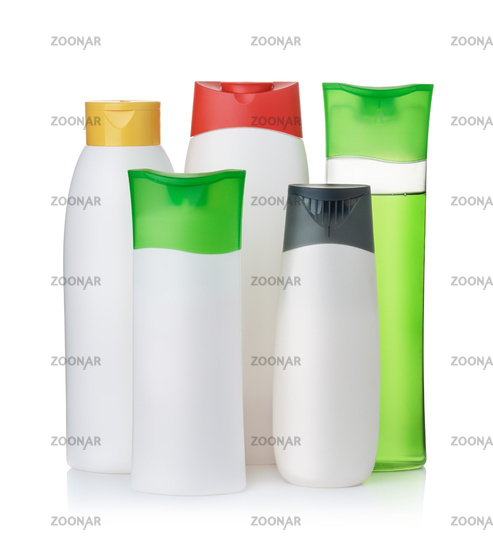 Group of blank plastic cosmetic bottles