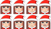 Christmas sticker set. New Year and Xmas cute set of beautiful girl.