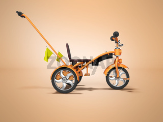 Orange kids bike with telescopic handle side view 3d render on orange background with shadow