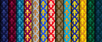 Royal Heraldic Lilies (Fleur de lis) -- Rich colorful wallpaper, fabric textile, seamless pattern, set of 13 versicolored rolls.