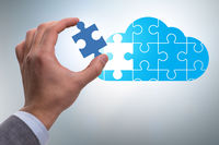 Concept of cloud computing with jigsaw puzzle