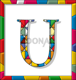 Letter U in stained glass