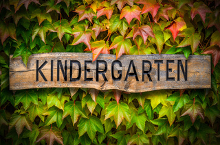 Rustic Wooden Kindergarten Sign