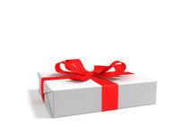 Gift medium white paper with a red ribbon perspective 3D render on a white background with a shadow