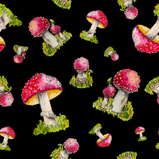 Watercolor pattern of red fly agarics.