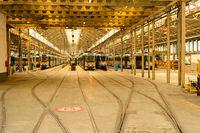 Trams depot, public transport infrastructure