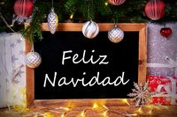 Chalkboard, Tree, Gift, Fairy Lights, Feliz Navidad Means Merry Christmas