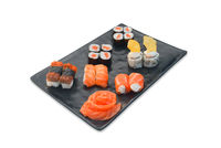 Japanese food set Sushi roll, sashimi, nigiri