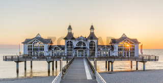 Historical Sellin pier on Ruegen island at sunrise