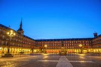 Madrid Spain, night city skyline at Plaza Mayor