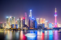 shanghai skyline in evening