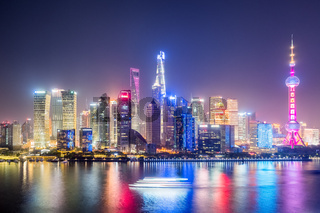shanghai skyline in evening