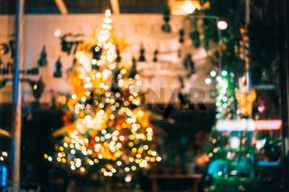 Christmas tree lights, not focus.