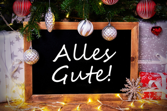 Chalkboard, Tree, Gift, Fairy Lights, Alles Gute Means Best Wishes