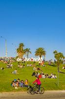 Crowded Waterfront Park, Pocitos Neghborhood, Montevideo, Uruguay