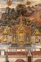 Gold castle in Wat Phra Kaew mural