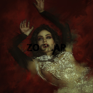 vampire, demonic woman dressed in white lace and silver jewelry. has fangs and thick brown hair
