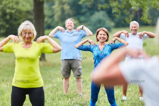 Gruppe Senioren macht Gymnastik Kurs