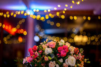 Bridal flowers bouquet on colorful light background