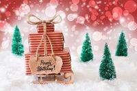 Sled, Present, Snow, Happy Birthday, Red Background