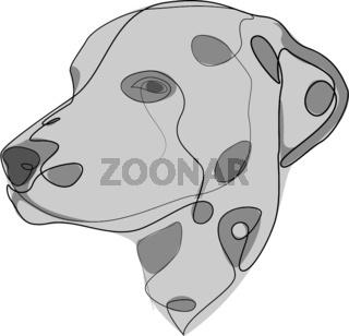 Continuous line Dalmatian. Single line minimal style dog vector illustration. Portrait