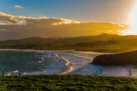 Picturesque Pacific coast of sunset
