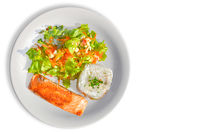 Tasty Salmon with rice and salad as a side