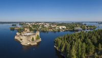 Aerial view of Olavinlinna castle and Savonlinna town in Finland