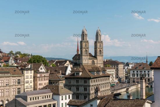 View of historic Zurich city and river Limmat from Lindenhof park, Zurich