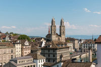 View of historic Zurich city and river Limmat from Lindenhof park, Zurich