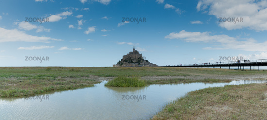 tourists visiting the famous Mont Saint-Michel in Normandy in northern France