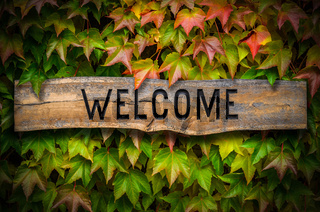 Retro Wooden Welcome Sign