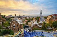Barcelona Spain, sunrise city skyline at Park Guell