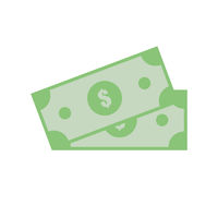 Two dollars banknotes. Banking payment. Finance. Cash. Geen paper. Flat design. EPS 10.