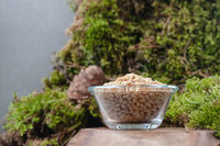 Peeled pine nuts in a glass bowl on a natural background.