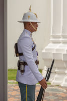 Close-up of Grand Palace guard with rifle