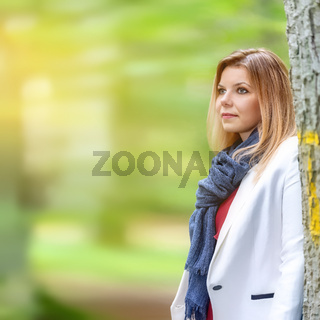 beautiful young woman portrait autumn outdoor